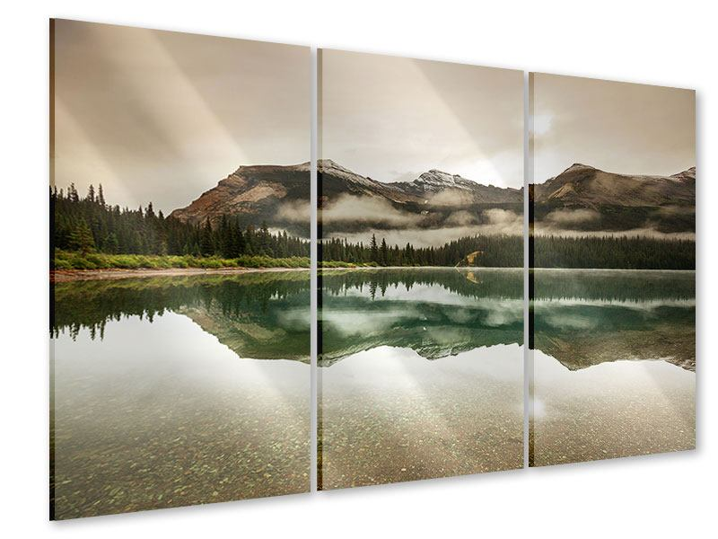 3 Piece Acrylic Print Reflection In Glacier National Park