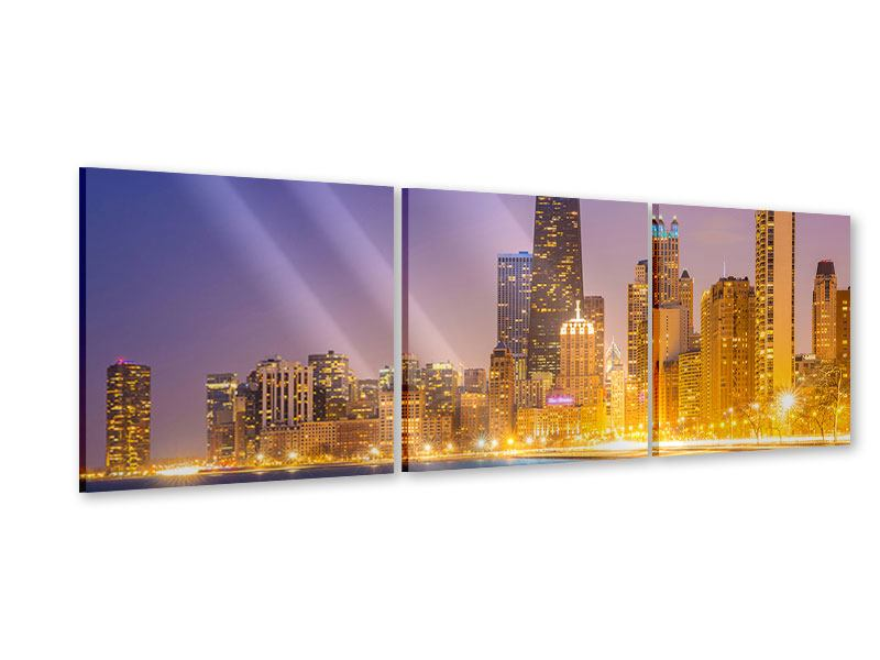 Panorama Acrylglasbild 3-teilig Skyline Chicago in der Nacht