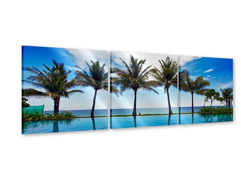 Panoramic 3 Piece Acrylic Print Beach Villa