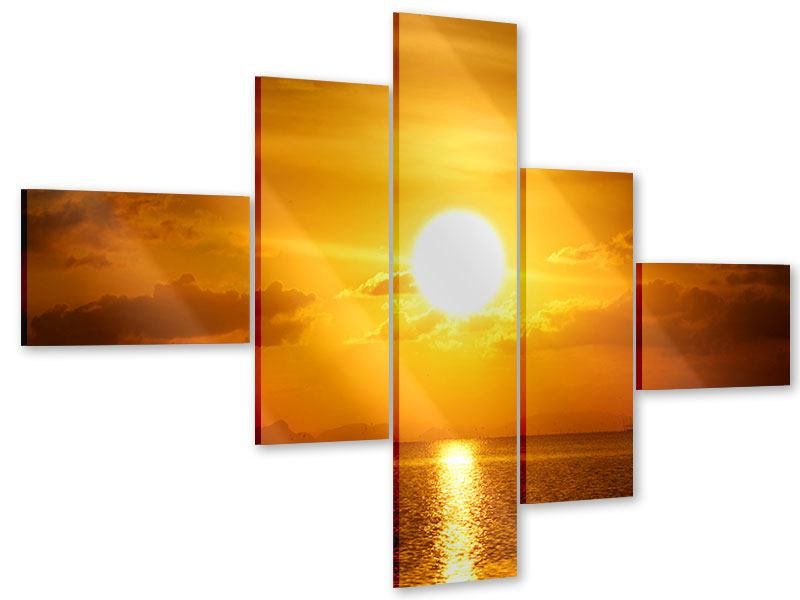 Modern 5 Piece Acrylic Print Sunset Lake