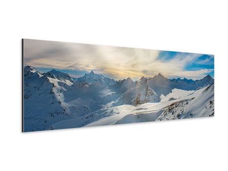 Panoramic Aluminium Print Over The Snowy Peaks