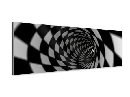 Panoramic Aluminium Print Abstract Tunnel Black & White