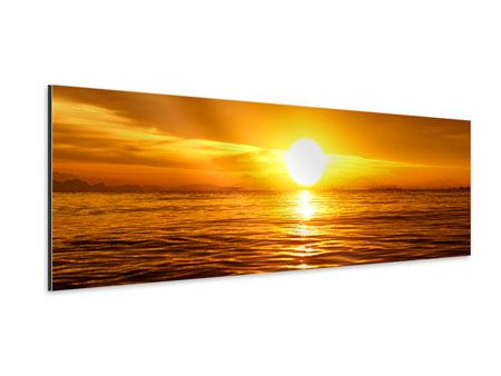 Panoramic Aluminium Print Glowing Sunset On The Water