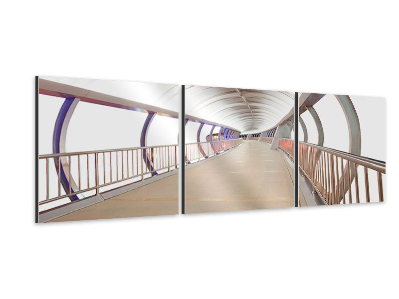 Panoramic 3 Piece Aluminium Print Bridge Feeling