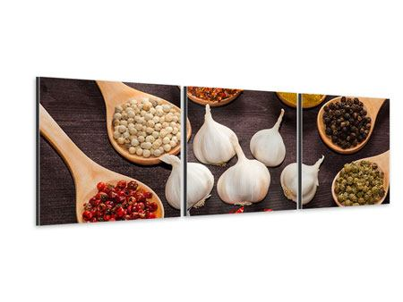 Panoramic 3 Piece Aluminium Print Italian Spices