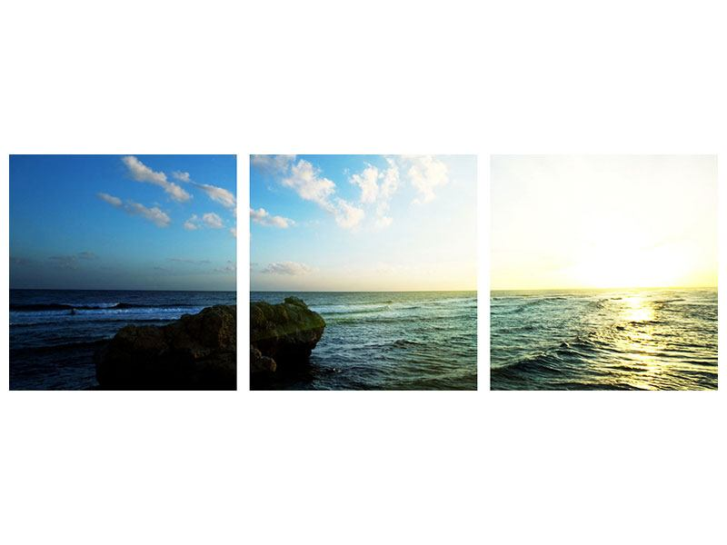 Panoramic 3 Piece Aluminium Print The Ocean