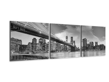 Panoramic 3 Piece Aluminium Print Skyline Black And White Photography Brooklyn Bridge NY