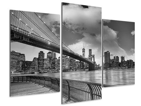 Modern 3 Piece Aluminium Print Skyline Black And White Photography Brooklyn Bridge NY