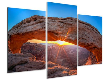 Modern 3 Piece Aluminium Print Sunset At Mesa Arch