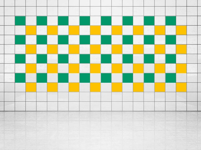 Tile Decor Sun Yellow (A706-01) and Green (A756) Set of 20