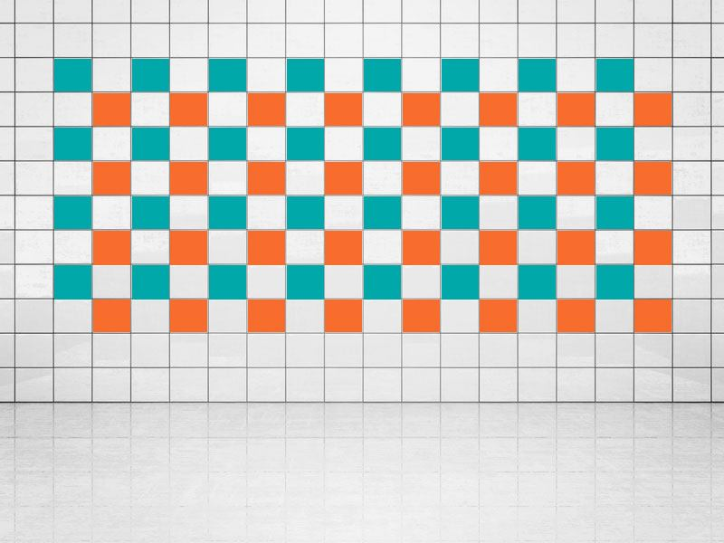 Tile Decor Orange (A705) and Turquoise (A731) Set of 20