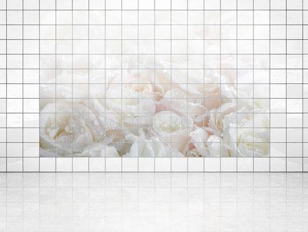 Tile Print White Roses In The Morning Dew