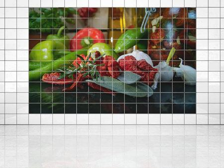 Tile Print Mediterranean Vegetables