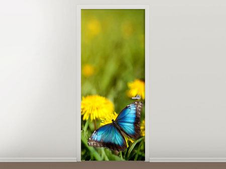 Door Mural Dandelion And Butterfly