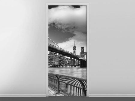 Door Mural Skyline Black And White Photography Brooklyn Bridge NY