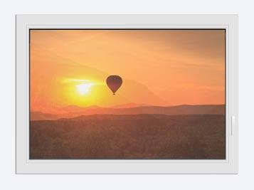 Window Print Hot Air Balloon At Sunset