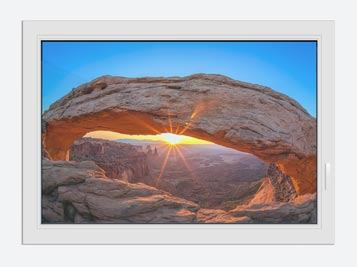 Window Print Sunset At Mesa Arch