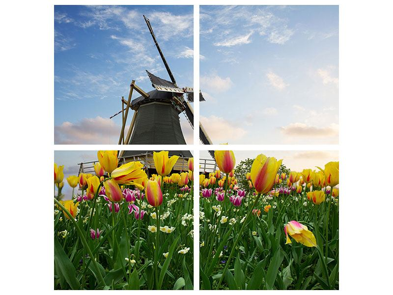 4 Piece Forex Print The Windmill With Tulips