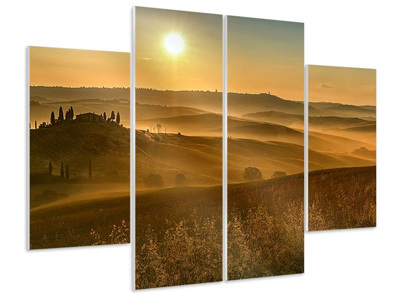 4 Piece Forex Print Sunset In The Rocks