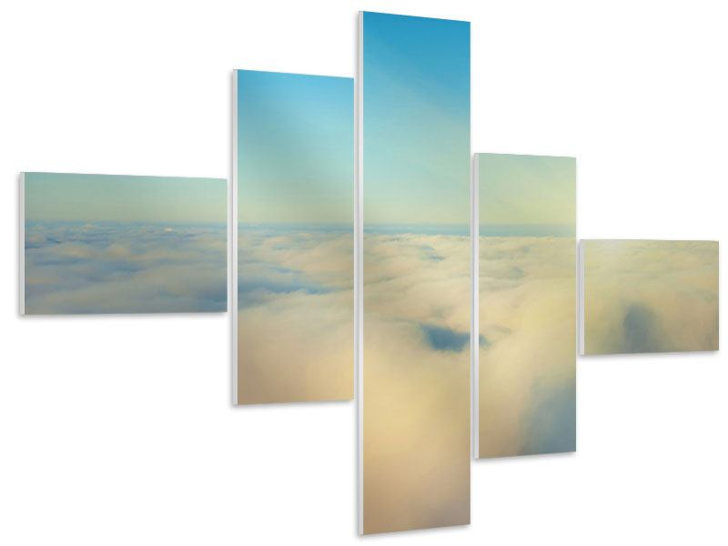 Modern 5 Piece Forex Print Photo Wallaper Dawn Above The Clouds