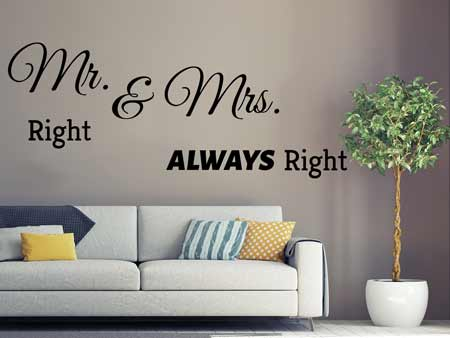 Adesivi murali Mr. Right & Mrs. Allways Right