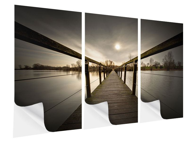 3 Piece Self-Adhesive Poster The Wooden Bridge