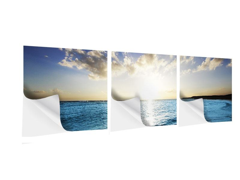 Panoramic 3 Piece Self-Adhesive Poster The Sea At Sunrise