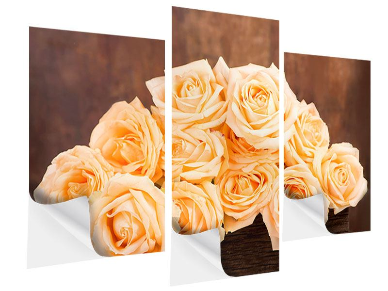 Modern 3 Piece Self-Adhesive Poster Rose Time