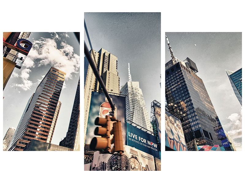 Modern 3 Piece Self-Adhesive Poster Times Square