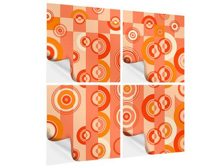4 Piece Self-Adhesive Poster Moving Retro Circles