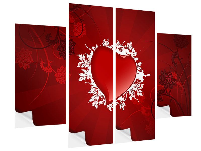 4 Piece Self-Adhesive Poster Flying Heart
