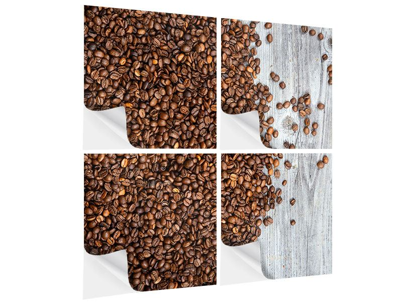 4 Piece Self-Adhesive Poster Coffee Beans