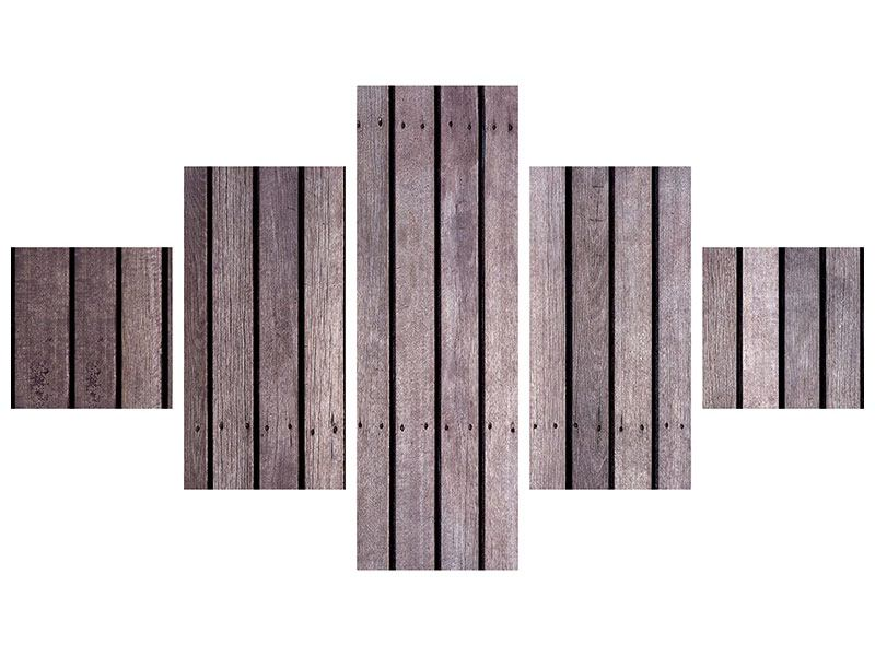 5 Piece Self-Adhesive Poster Wood Wall