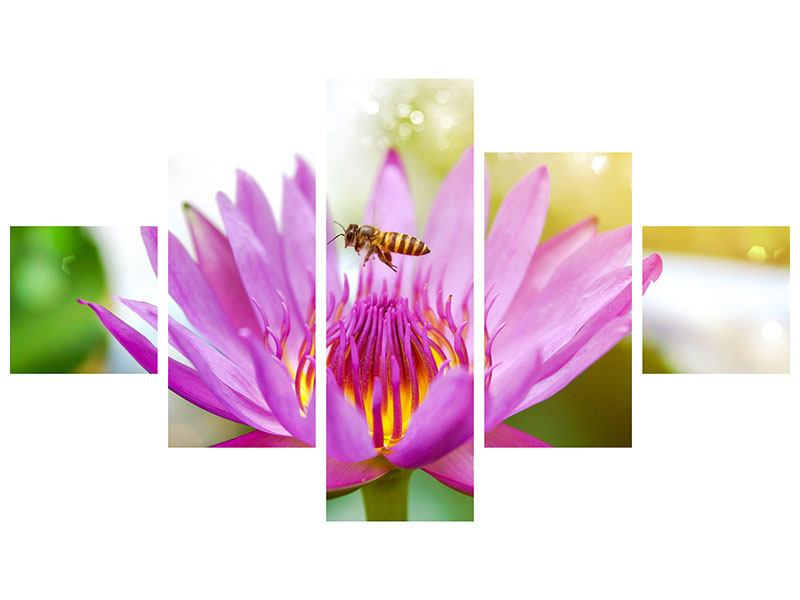 5 Piece Self-Adhesive Poster The Lotus With Bee