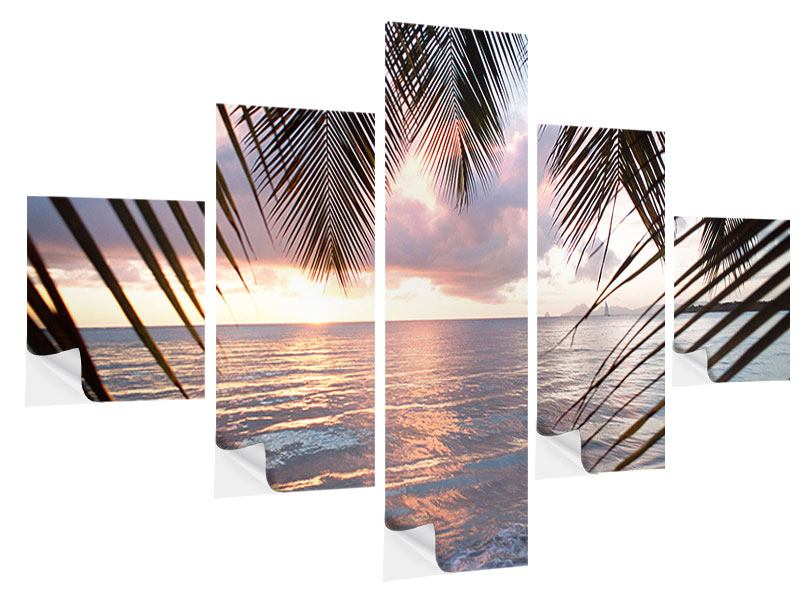 5 Piece Self-Adhesive Poster Under Palm Leaves