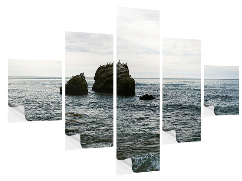 5 Piece Self-Adhesive Poster Silent Waves