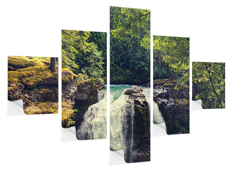 5 Piece Self-Adhesive Poster River Current