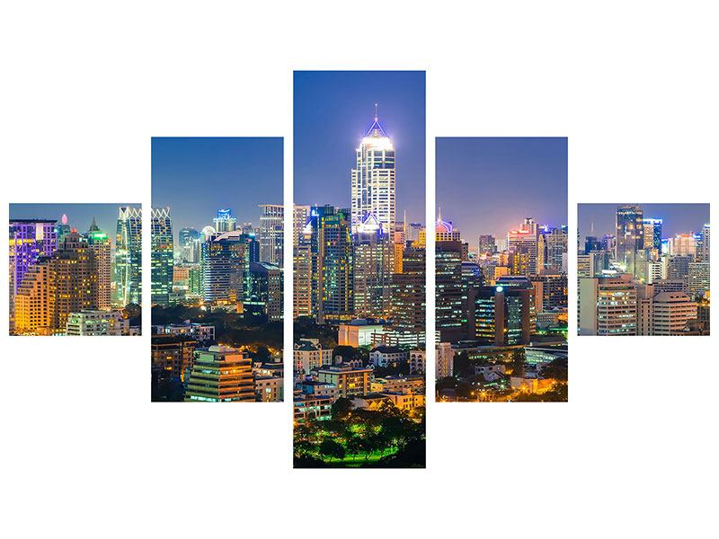 5 Piece Self-Adhesive Poster Skyline One Night In Bangkok
