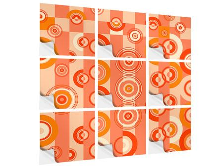 9 Piece Self-Adhesive Poster Moving Retro Circles