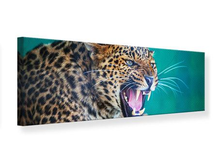 Panoramic Canvas Print Attention Leopard