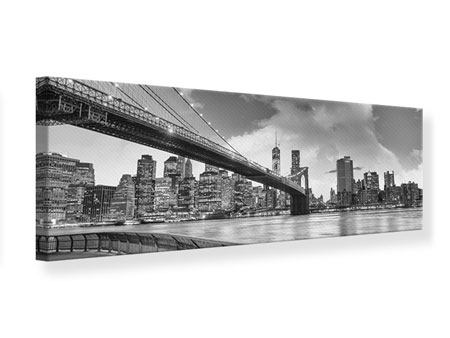 Panoramic Canvas Print Skyline Black And White Photography Brooklyn Bridge NY