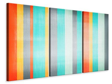 3 Piece Canvas Print Grunge Stripes