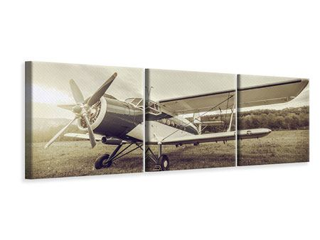 Panoramic 3 Piece Canvas Print Nostalgic Aircraft In Retro Style