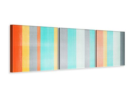 Panoramic 3 Piece Canvas Print Grunge Stripes