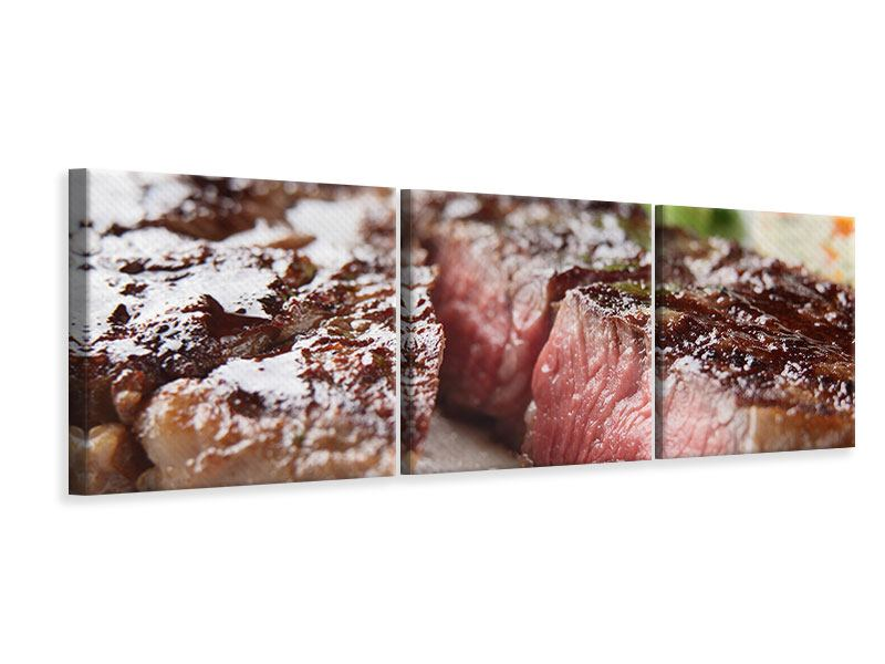 Panoramic 3 Piece Canvas Print Perfect Beef Filet