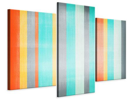 Modern 3 Piece Canvas Print Grunge Stripes