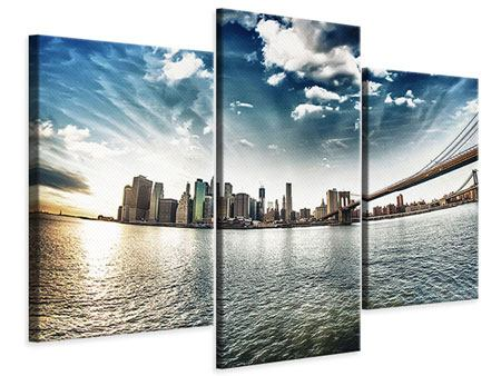 Modern 3 Piece Canvas Print Brooklyn Bridge From The Other Side