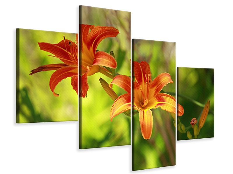 Modern 4 Piece Canvas Print Lilies In Nature