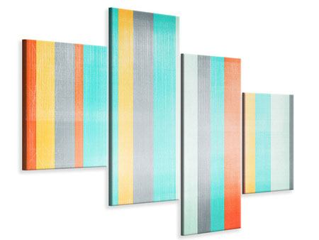 Modern 4 Piece Canvas Print Grunge Stripes