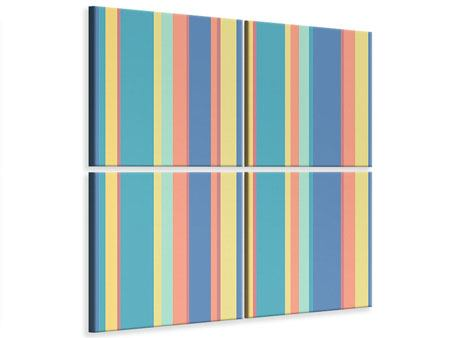 4 Piece Canvas Print Vertical Stripes In Pastel